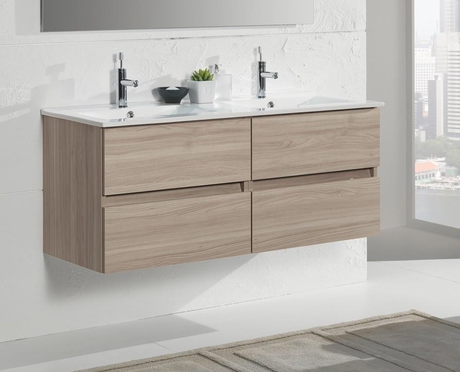 mobile bagno polar L120 doppio lavabo olmo - shoppingdesign